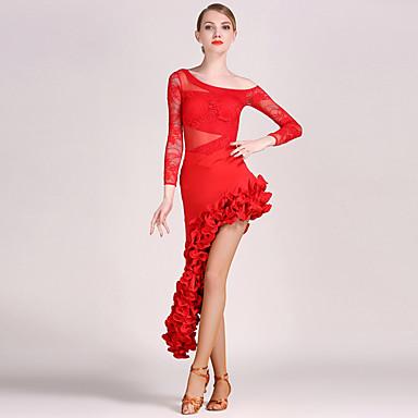 povoljno Odjeća i obuća za ples-Latino ples Outfits Žene Trening / Seksi blagdanski kostimi Čipka / Til Drapirano Dugih rukava Top / Suknja / Latin Dance