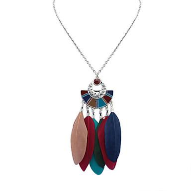 povoljno Modne ogrlice-Žene Ogrlice s privjeskom Boemski stil Europska Moda Perje Legura Crn Deep Green Duga Ogrlice Jewelry Za Dnevno