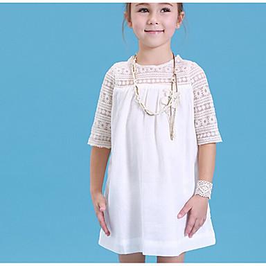 billige BarnekolleksjonUnder $8.99-Børn Pige Ensfarvet Halvlange ærmer Kjole Hvid