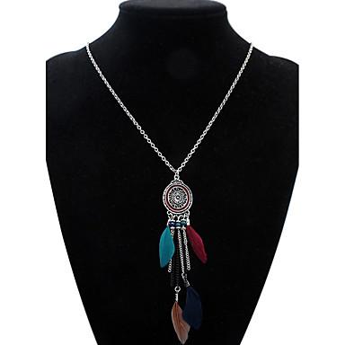 povoljno Modne ogrlice-Žene Ogrlice s privjeskom Duga ogrlica Kićanka Europska Moda Euramerican Perje Legura Deep Green Duga Žutomrk Ogrlice Jewelry Za Kauzalni