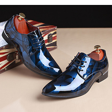 cheap Printed Shoes-Men's Printed Oxfords Patent Leather Spring / Fall Oxfords Light Brown / Red / Blue / Party & Evening / Party & Evening / Outdoor / Comfort Shoes / EU40