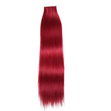 preiswerte Echthaar Haarverlängerungen-Zum Festkleben Haarverlängerungen Glatt Echthaar Haarverlängerungen Echthaar Damen - Schwarz Blau Blonde / Pink Platinum Blonde / Pink