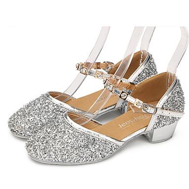 รองเท้าเต้นรำ ลูกไม้ / เลื่อม / Paillette ลาติน หินประกาย / คริสตัล / ของประดับด้วยลูกปัด ส้นเรียบ / รองเท้าแตะ / ส้น ส้นต่ำ ไม่ตัดเฉพาะ สีทอง / สีเงิน / สีบานเย็น / ในที่ร่ม / Performance / ฝึก