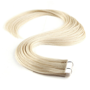 cheap Tape in Hair Extensions-Neitsi Tape In Human Hair Extensions Straight Human Hair Human Hair Extensions 1pack Women's Platinum Blonde