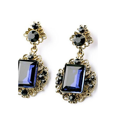 levne Dámské šperky-Dámské Safír Syntetický safír Syntetický smaragd Visací náušnice Emerald Cut dva kameny dámy Smaragdová Náušnice Šperky Zelená / Modrá Pro Svatební Párty 1ks