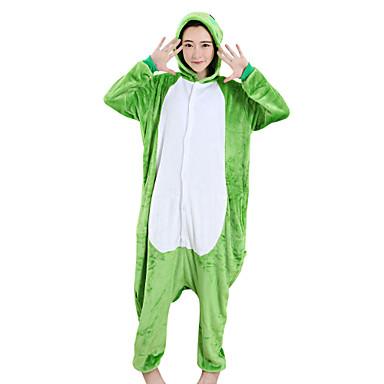 ผู้ใหญ่ Kigurumi Pajama กบ Onesie Pajama Velvet Mink สีเขียว คอสเพลย์ สำหรับ ผู้ชายและผู้หญิง สัตว์ชุดนอน การ์ตูน Festival / Holiday เครื่องแต่งกาย