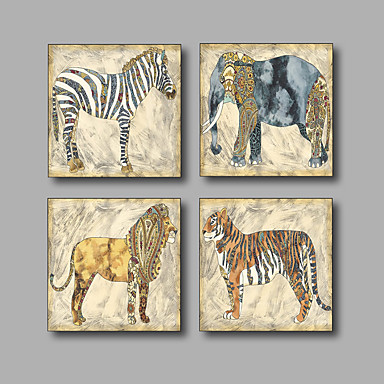 cheap Wall Art-Stretched Canvas Print Painting Four Panels Canvas Wall Decor Home Decoration Abstract Modern Animals Elephant