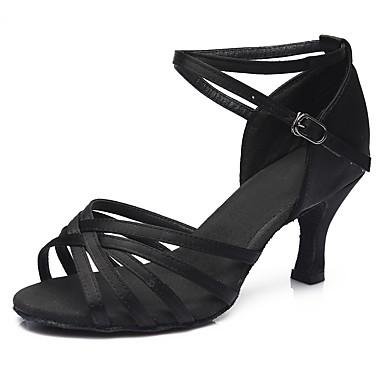 cheap Animal Print-Women's Dance Shoes Satin Latin Shoes / Salsa Shoes Buckle Sandal / Heel Cuban Heel Customizable Silver / Leopard / Dark Brown / Performance / EU40