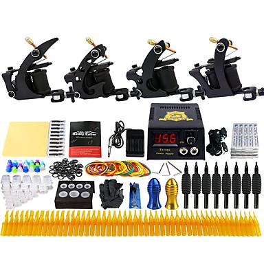 Solong Tattoo Professionell Tattoo Kit Tattoo Machine - 4 pcs Tatueringsmaskiner, Professionell LCD strömförsörjning 4 x legering tatuering maskin för lining och skuggning