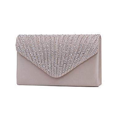 저렴한 가방-여성용 크리스탈 / 라인석 폴리 에스터 이브닝 백 / 3번 접는 스타일 라인 석 크리스탈 저녁 가방 네이비 블루 / 아몬드 / 와인 / 웨딩 가방 / 웨딩 가방