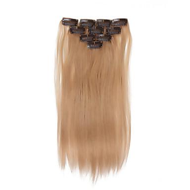 preiswerte Echthaar Haarverlängerungen-Mit Clip Haarverlängerungen Glatt Echthaar Echthaar Haarverlängerungen Damen Mittelbraun / Blau