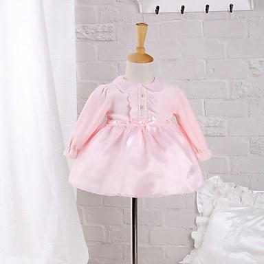povoljno Odjeća za bebe-Dijete Djevojčice Mašna Dnevno / Izlasci Jednobojni Dugih rukava Pamuk Haljina Blushing Pink