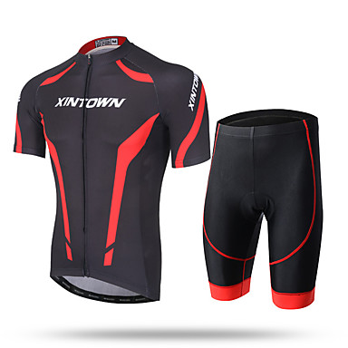 cheap Free shipping over $100, Winter Sports-XINTOWN Men's Short Sleeve Cycling Jersey with Shorts White Red Blue Bike Shorts Pants / Trousers Jersey Breathable Quick Dry Ultraviolet Resistant Back Pocket Sweat-wicking Sports Lycra Mountain