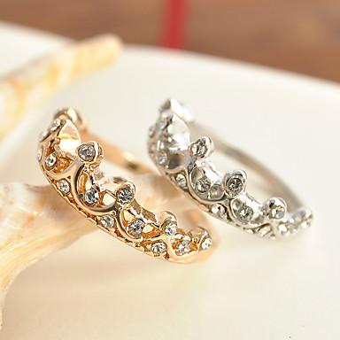 billige Motering-Dame Ring Princess Crown Ring Gull Sølv Zirkonium Legering damer Klassisk Bryllup Fest Smykker Prinsesse