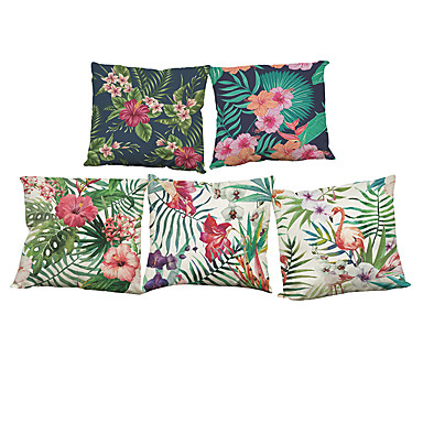 cheap Decorative Pillows-Set of 5 Linen Natural / Organic Pillow Cover Pillow Case, Solid Colored Floral Plaid Casual Retro Traditional / Classic Throw Pillow