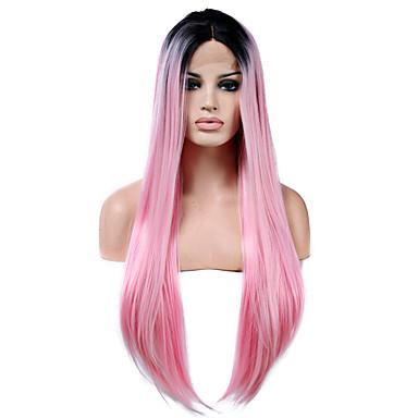 วิกผมสังเคราะห์ลูกไม้ด้านหน้า Straight ตรง มีลูกไม้ด้านหน้า ผมปลอม สีชมพู ยาว Pink สังเคราะห์ สำหรับผู้หญิง เส้นผมธรรมชาติ สีชมพู