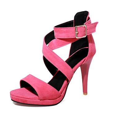 Mujer Zapatos Terciopelo / Materiales Personalizados Verano Innovador / Zapatos del club Sandalias Tacón Stiletto Puntera abierta Hebilla LF2ETDfTL