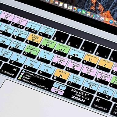 xskn® OS X ลัดซิลิโคนผิวแป้นพิมพ์และผู้พิทักษ์แถบสัมผัส 2016 MacBook Pro ใหม่ล่าสุด 13.3 / 15.4 มีการแสดงแถบสัมผัสจอประสาทตา (US / รูปแบบ