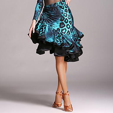 ชุดเต้นละติน Tutus & Skirts สำหรับผู้หญิง Performance กำมะหยี่ รัฟเฟิล ธรรมชาติ กระโปรง
