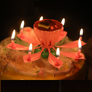 Buy Musical Lotus Flower Candles Happy Birthday Candle Party Gift Lights Decoration