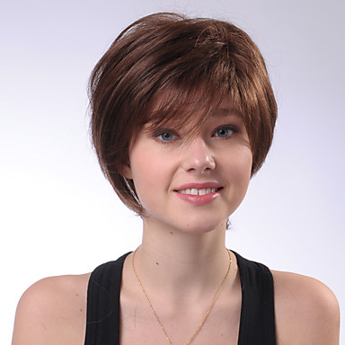 Human Hair Capless Wigs Human Hair Straight Natural Straight Bob Haircut Bangs Side Part Short Machine Made Wig Women's