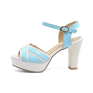 Prix Bas Mujer Zapatos Cuero Verano Confort Sandalias Tacón Cuadrado Punta abierta Blanco / Negro Vendable Vente En Ligne T8AhZC2