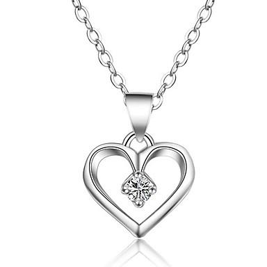 Collar cadena doble corazón remolque circonita plata día de San Valentín regalo nuevo