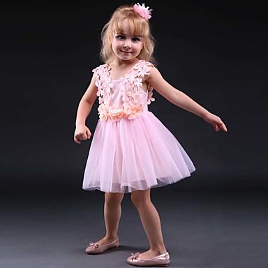 levne Nejprodávanější-Toddler Dívčí Květinový Krajkový Denní Ostatní Tisk Bez rukávů Šaty Bílá