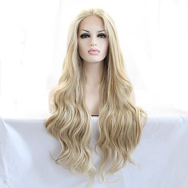 preiswerte Perückenparty-Synthetische Lace Front Perücken Natürlich gewellt Natürlich gewellt Spitzenfront Perücke Blond Lang Blond Synthetische Haare 18-26 Zoll Damen Hitze Resistent Natürlicher Haaransatz Blond
