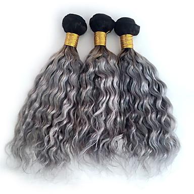 preiswerte 3-Ton Haarverlängerungen-3 Bündel Brasilianisches Haar Locken Wogende Wellen Curly Webart Echthaar Ombre Ombre Menschliches Haar Webarten Haarverlängerungen / 8A