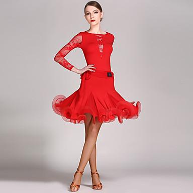 Latinamerikansk dans Outfits Dam Prestanda Spets / Viskos Krusad Långärmad Naturlig Trikå / Onesie / Kjol / Latinodans