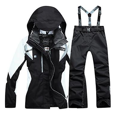 สำหรับผู้หญิง Hiking Jacket with Pants กลางแจ้ง ฤดูหนาว รักษาให้อุ่น กันน้ำ กันลม ระบายอากาศ ชุดออกกำลังกาย กำมะหยี่ กีฬาหิมะ ตกต่ำ Snowboarding สีดำ / ยืด