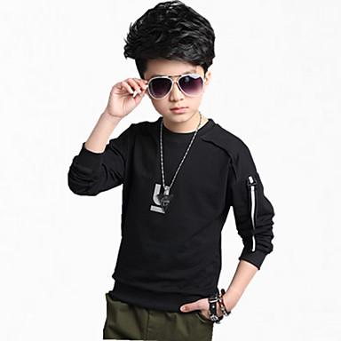 povoljno Odjeća za dječake-Djeca Dječaci Svečana odjeća Dnevno Jednobojni Dugih rukava Regularna Pamuk Trenirka s kapuljačom Crn