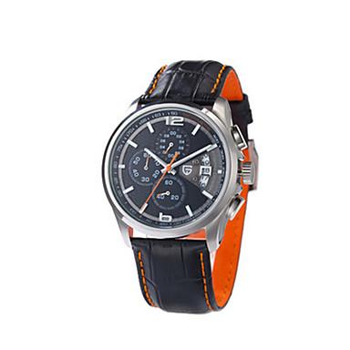 สำหรับผู้ชาย นาฬิกาแนวสปอร์ต นาฬิกาอิเล็กทรอนิกส์ (Quartz) หนัง ดำ 30 m / อะนาล็อก-ดิจิตอล วินเทจ - ส้ม สีเหลือง สีบานเย็น