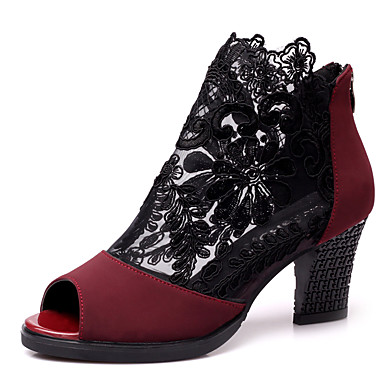 094b13e4d Women s Modern Shoes Lace   Leather Sandal   Sneaker Stitching Lace Chunky  Heel Non Customizable Dance Shoes Black   Red 5609349 2019 –  39.99