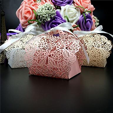 voordelige Bruiloftsbedankjes-Rond / Vierkant Parel Papier Bedankjeshouder met Linten / Prints Bedank Doosjes - 50
