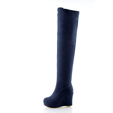 Mujer Zapatos Cuero Nobuck Primavera / Otoño Confort / Tira en el Tobillo Tacones Tacón Cuña Dedo redondo Pajarita / Hebilla Negro / Rojo Jeu Prix Incroyable  La Sortie YIDNY1N6S