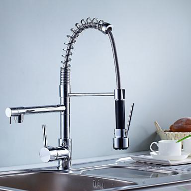 ก๊อกน้ำสำหรับห้องครัว - จับเดี่ยวหนึ่งหลุม มีสี ดึงออก / ดึงลง ทรงกลม ร่วมสมัย Kitchen Taps / Brass