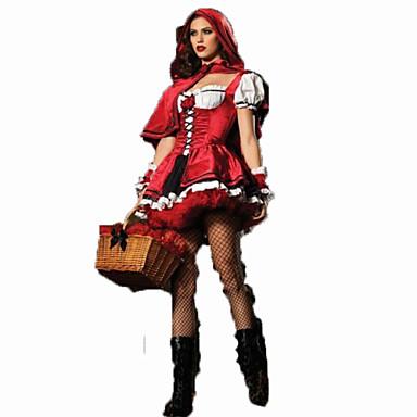 Lilla Rödluvan Cosplay Kostymer   Dräkter Dam Karnival Festival   högtid  Halloweenkostymer outfits Röd Enfärgad   Chiffong 5642971 2019 –  22.99 3fee8ac953685
