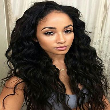 วิกผมจริง เต็มไปด้วยลูกไม้ วิก สไตล์ ผมบราซิล ลอนธรรมชาติ ธรรมชาติดำ วิก 130% Hair Density ผมเด็ก เส้นผมธรรมชาติ วิกผมแอฟริกันอเมริกัน 100% มือผูก สำหรับผู้หญิง Short ขนาดกลาง ยาว วิกผมแท้ Luckysnow