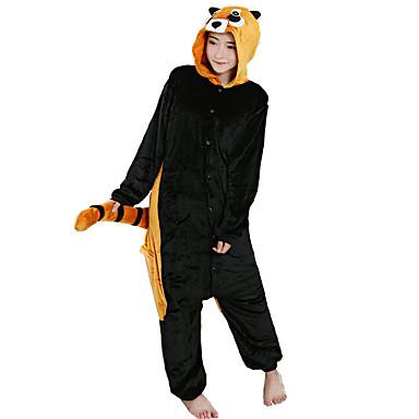 ผู้ใหญ่ Kigurumi Pajama Raccoon Onesie Pajama ผ้าสักหลาด ผ้าขนแกะ สีดำ คอสเพลย์ สำหรับ ผู้ชายและผู้หญิง สัตว์ชุดนอน การ์ตูน Festival / Holiday เครื่องแต่งกาย