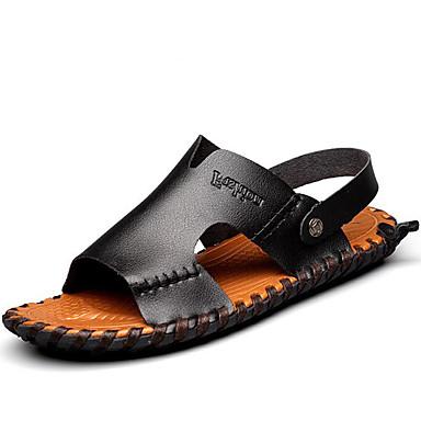 Hombre Zapatos Cuero de Napa Primavera Verano Otoño Confort Sandalias Agua para Casual Oficina y carrera Al aire libre Blanco Negro ExkpW6