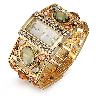 billige Kvadratiske og rektangulære klokker-Dame Luksus Ure Armbåndsur Diamond Watch Quartz damer Imitasjon Diamant Gylden Analog - Svart Gull Ett år Batteri Levetid / Japansk / Japansk / SSUO SR626SW