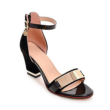 cheap Women's Autumn Shoes Great Deal-Women's Sandals Chunky Heel Zipper / Metallic Toe Leatherette Club Shoes Spring / Summer Black / Red / Party & Evening / Party & Evening / EU42