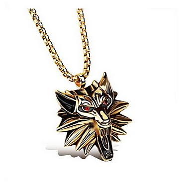 levne Dámské šperky-Pánské Přívěšky Zvíře Vlk Luxus Základní Módní Chunky Titanová ocel Umělé diamanty Brož Šperky Zlatá Stříbrná Pro Denní Ležérní