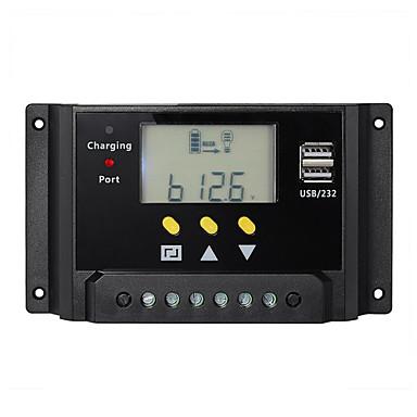 20A 12V 24V LCD Solar Controller Battery Charge Regulator Dual USB Timer Control