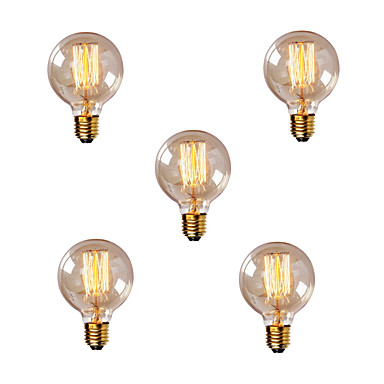 5pcs 40W E26 / E27 G80 ขาวนวล 2200-2700k เรทโทร หรี่แสงได้ ตกแต่ง หลอดไฟ Vintage Edison รุ่น Exand 220-240V