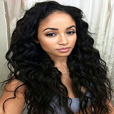 วิกผมจริง ลูกไม้หน้าไม่มีกาว มีลูกไม้ด้านหน้า วิก สไตล์ ผมบราซิล คลื่นน้ำ วิก 130% Hair Density ผมเด็ก เส้นผมธรรมชาติ วิกผมแอฟริกันอเมริกัน 100% มือผูก สำหรับผู้หญิง Short ขนาดกลาง ยาว วิกผมแท้