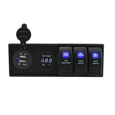 billige Bildeler-dc 12v / 24v ledet digitale 3.1a usb voltmeter kontakten med vippevippebryter jumper ledninger og boliger holder