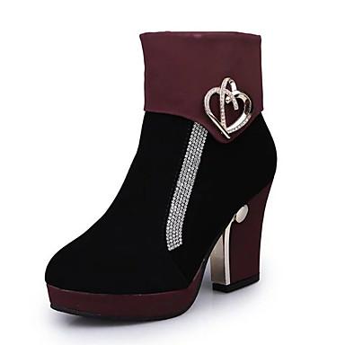 levne Dámská obuv-Dámské Boty Block Heel Boots Kačenka Palec do špičky PU Pohodlné / Obuv military styl Podzim / Zima Černá / Červená / Modrá / EU39